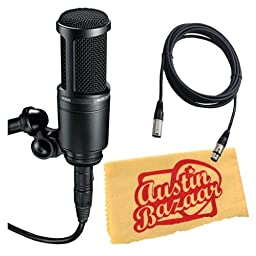 Audio-Technica AT2020 Side Address Cardioid Condensor Studio Microphone Bundle with 10-Foot XLR Cable and Polishing Cloth