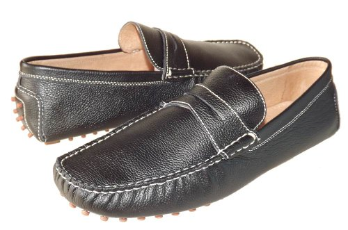 Balmain Men's Black Leather Driving Moccasins