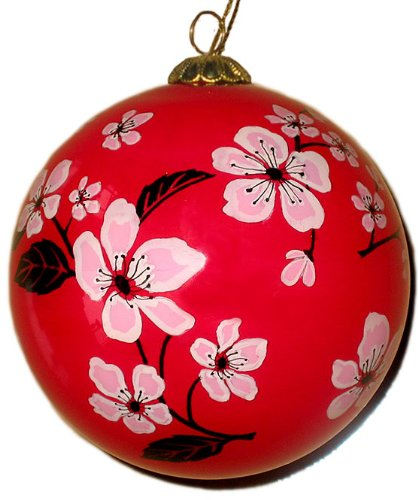 Hand Painted Glass Ornament, Cherry Blossoms on Red CO-203