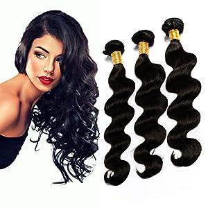 Beihong Hair 6A High Quality Virgin Brazilian Human Hair Extensions Body Wave 3 Bundles Human Hair Weave Total 150g (16 18 20, #1B(Natural Black))