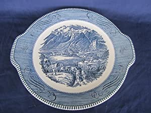 """Vintage Royal Currier & Ives """"The Rocky Mountains"""" Round Serving Plate 11 1/2"""" x 10 1/2"""""""