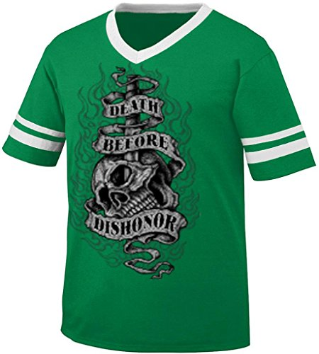 Death Before Dishonor Mens Tattoo Style Ringer T-Shirt, Tattoo Style Skull Knife And Flames V-Neck Shirt, Xx-Large, Kelly/White