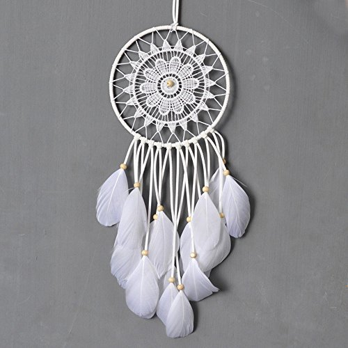 Dremisland Dream catcher handmade traditional white feather dream catcher wall hanging car hanging decoration ornament gift (Dia 5.9