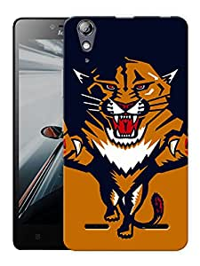 """Humor Gang Angry Tiger Cartoon Printed Designer Mobile Back Cover For """"Lenovo A6000 - A6000 PLUS"""" (3D, Matte, Premium Quality Snap On Case)"""