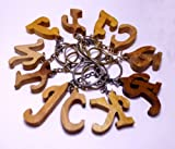 A Set of 11 Hand Carved Wooden Alphabets Key Ring,keychain,wood Key Holder Keychain