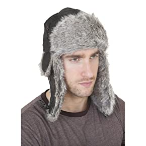 Mens Leather Look Thermal Winter Trapper Hat