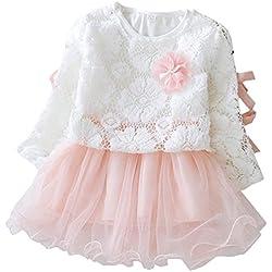 Waboats Ragazze Vestito Floreale Con Tulle Principessa Bambina Festa 12 mesi Rosa