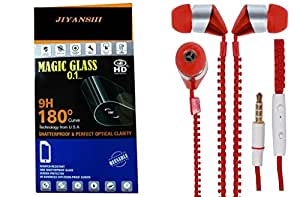 JIYANSHI Samsung Galaxy Note 2 Compatible Combo of Screen Guard/Screen Protector & Earphone Zip Style With Deep Bass (Red)