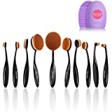 Docolor Oval Makeup Brushes Set with Cleaner Tools (Black,10Pcs)
