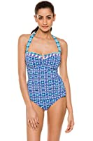 Tommy Bahama Women's Kaleidoscope Blue One Piece Bandeau Swimsuit