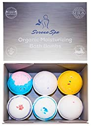 Bath Bomb Gift Set by Serene Spa (Set of 6) - Proudly Handmade in the USA with Organic Moisturizing Shea Butter, Cocoa Butter & All Natural Essential Oils - Lush Aromatherapy Fizzies Set Makes a Perfect Gift Box