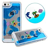 Swimming Dolphins Case for iPhone 6,Liquid Case for iPhone 6,Dolphins Case for iPhone 6,MANBO Creative Design Flowing Liquid Swimming Dolphins Coconut Trees Hard Case For iPhone 6 4.7 inch - Blue from MANB
