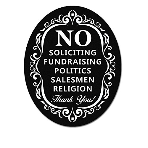 No Soliciting Sign for Home and Business | Stylish Laser Cut Oval 5