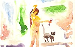 1 0 x 7, Cat, Woman and wine, original watercolor by Andrejs Bovtovics. FREE shipment.