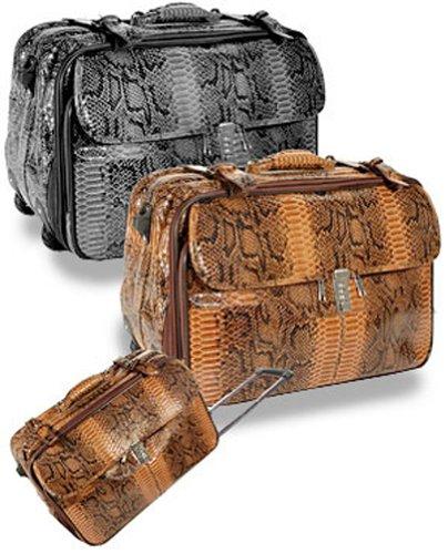 Faux Snake Rolling Duffle Weekender Bag