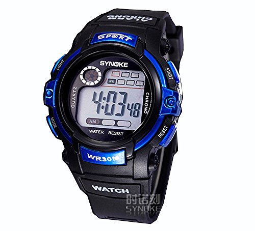ufengke-children's digital autodasportalarmstopwatch children's ordinary waterproof watch blue