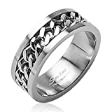 STR-0108 Stainless Steel Cuban Link Chain in Middle Ring 6mm Sz 5-8, 8mm Sz 9-14 (9)