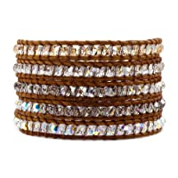 Chan Luu Golden Shadow Mix Wrap Bracelet on Natural Brown Leather
