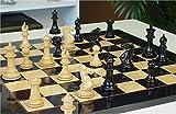 "Grande Staunton Chess Set in Ebony & Boxwood with Black & Ash Burl Chess Board - 3"" King"