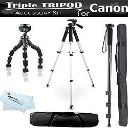 Triple Tripod Accessory Bundle Kit For Canon VIXIA HF R700 HF R72 HF R70 HF R62 HF R60 HF R600 HF G40 HF G30 HF G20 Camcorder Includes 57 Tripod w/ Case + 67 Monopod + 7 Flexible Tripod