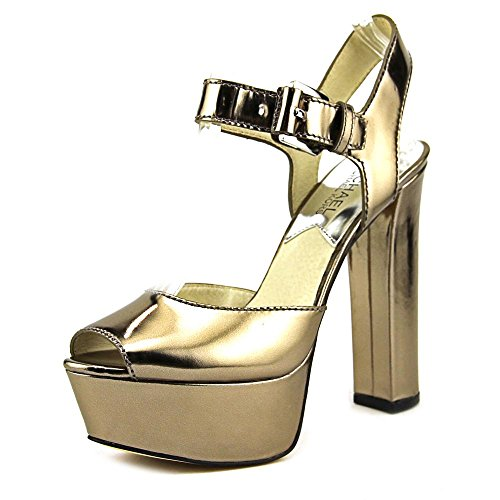 Michael Michael Kors London Open Toe Donna US 6.5 Argento Tacchi Alti