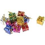 Decorative Buckets:SET Of 12 GIFT BOX SHAPE CHRISTMAS TREE DECORATION HANGINGS: CHRISTMAS DECORATIONS ORNAMENTS