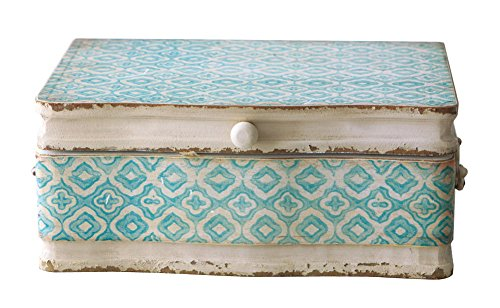 Vintage Shabby Chic Decorative Wood Case Keepsake Storage Box with Handle and Hinged Lid,Distressed Pale Blue and Ivory