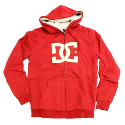 DC Mens Tangle Fleece Hoodie - Deep Red / White (XL)
