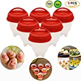 Egglettes Egg Cooker-Silicone Egg Poachers for hard boiled eggs,Egglets Egg Cups AS SEEN ON TV ,Hard&Soft Maker ,Boil Eggs Without the Egg Shell (Pack of 6)