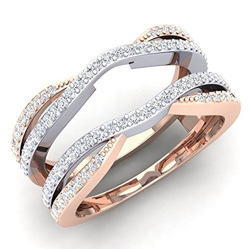 0.50 Carat (ctw) 14K White & Rose Gold Plated Sterling Silver CZ Diamond Ladies Wedding Band Enhancer Guard Double Ring 1/2 CT (4-12) (5) (Diamond Guard Ring compare prices)