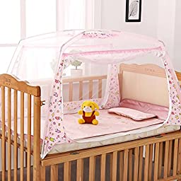 LOHOME® Zippered Baby Kid Children Nursery Bed Crib Mongolia Pack Folding Cot Mosquito Net Yurt Folding Mosquito Net Tent House Nets Crib with Stand Child Mosquito Bar Crib (L*W*H: 80*130*80cm) (Pink)