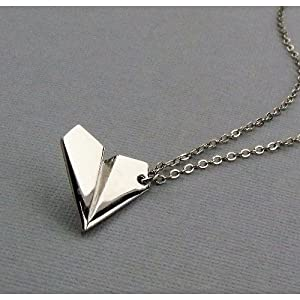 1d One Direction Harry Style Silver Paper Airplane Necklace Pendant from unknown