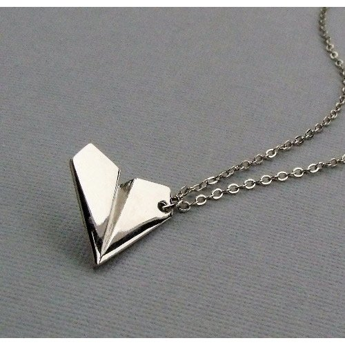 1D One Direction Harry' Style Silver Paper Airplane Necklace Pendant