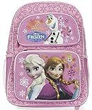 """Disney Girls Frozen Anna, Elsa, and Olaf 16"""" Large Backpack Bag"""