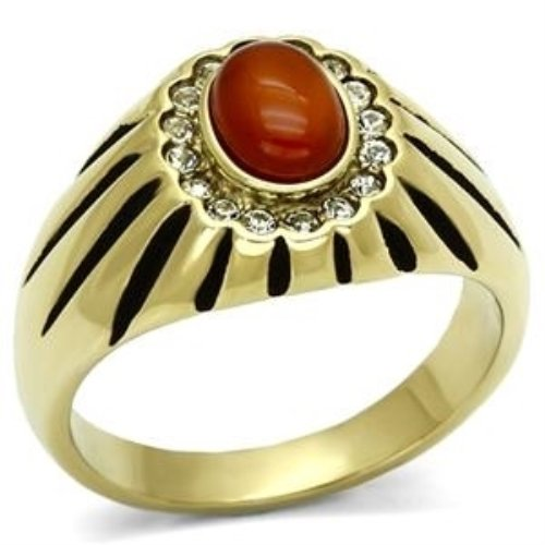Men's Stainless Steel Gold Toned Siam Agate Dome Shaped Ring - Size 10