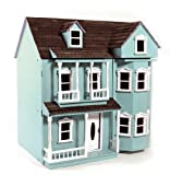 New in Box Mint Green/Blue 3 Storey Wooden Dolls House Kit