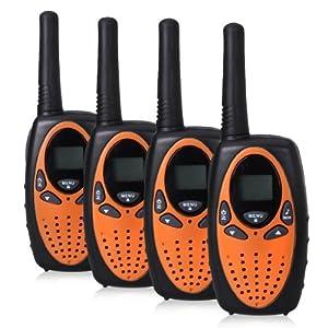 Radios FLOUREON de 22 canales FRS/GMRS de doble vía, con alcance de 2 millas, paquete de 4, color naranja