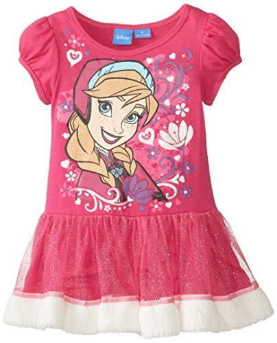 Disney Little Girls' Frozen Anna Dress with Glitter Tulle and Fur Trim