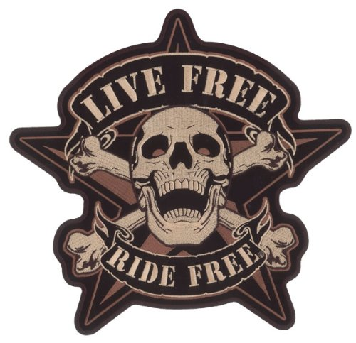 Hot Leathers Live Free Skull Biker Patch (11