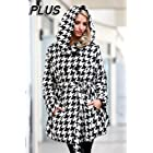 Houndstooth Hooded Button Down Coat Plus Size Womens