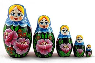 Matryoshka Matreska Babuska Russian Nesting Wooden Doll Rosa Flowers Matrioska 5 Pcs Stacking Hand Painting Beautiful Nested Great Craft Matriosjka Matrioska Matreshka Matrjoska Matroeska