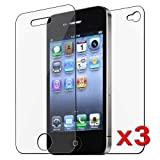 eForCity 1 Front & 1 Back Reusable Screen Protector Compatible With Apple® iPhone® 4 iPhone® 4S AT&T, Sprint, Version 16GB 32GB 64GB