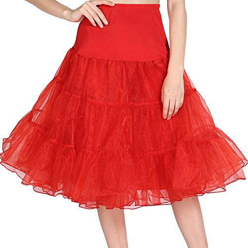 "EA Selection Womens 50s Vintage Rockabilly Petticoat, 26"" Length Underskirt"