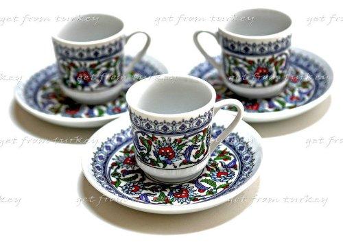 3 Espresso & Famous Turkish Coffee Café Cup Mug Floral Design Porcelain Set (Turkish Coffee Cups compare prices)