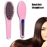 Odear Ceramic Hair Brush Straightener LED Display Instant Heating Anti Scald Straight Styling Iron Hair Brush (pink)