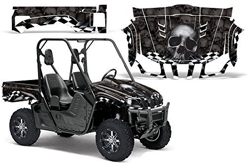 2004-2013-Yamaha-Rhino-450660700-AMRRACING-ATV-Graphics-Decal-Kit-Checkered-Skull-Black-Black