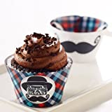 Little Man Mustache Reversible Cupcake Wrappers