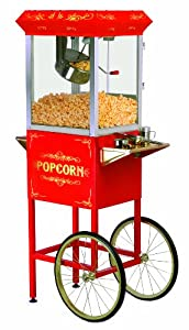MaxiMatic EPM-400 Elite Deluxe 8-Ounce Old-Fashioned Popcorn Popper Machine Trolley, Red
