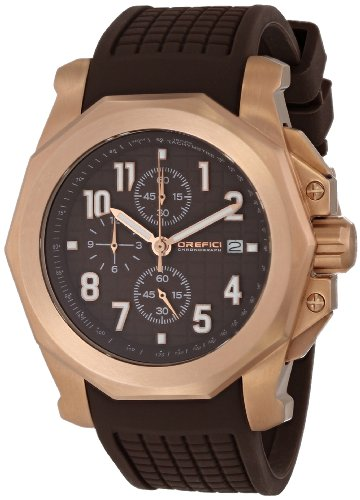 Orefici ORM6C4404 Men's Galante Brown Dial Rose Gold Steel Brown Rubber Strap Chrono Watch
