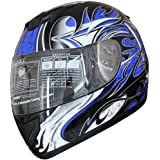 Adult Full Face Sports Motorcycle Helmet DOT (509) 136 Blue Large